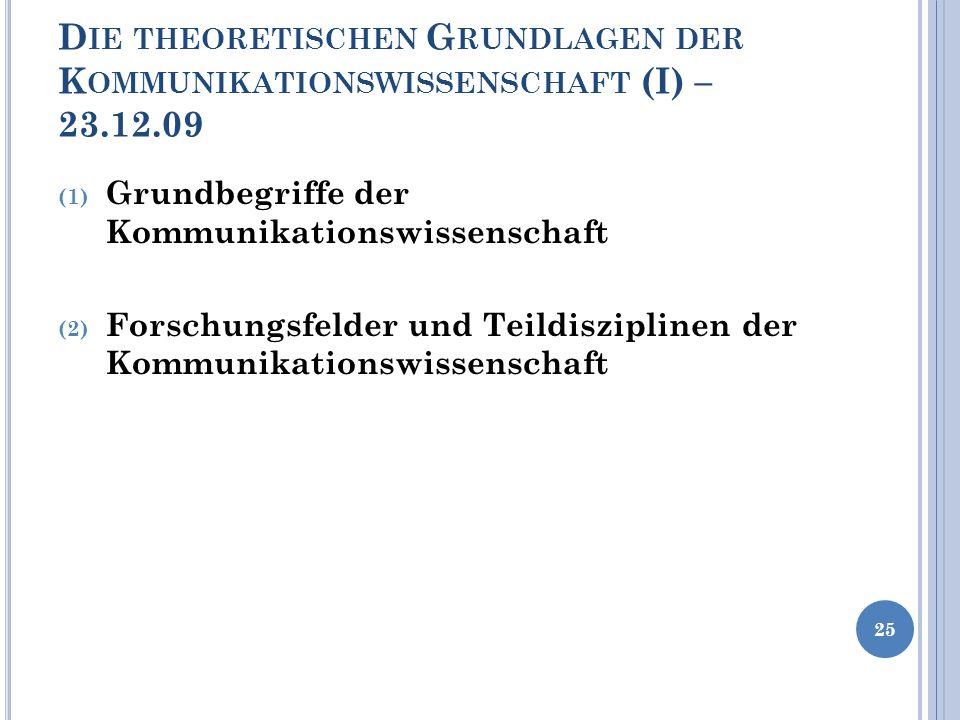 D IE THEORETISCHEN G RUNDLAGEN DER K OMMUNIKATIONSWISSENSCHAFT (I) – 23.12.09 (1) Grundbegriffe der Kommunikationswissenschaft (2) Forschungsfelder un