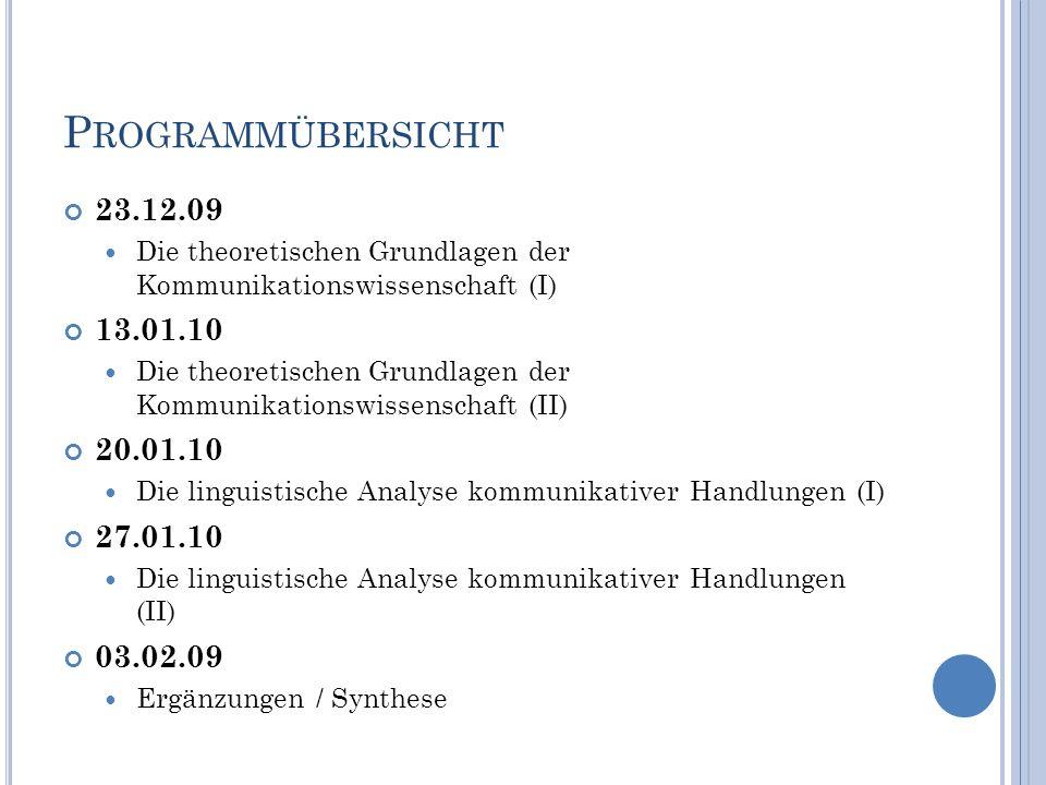 D IE THEORETISCHEN G RUNDLAGEN DER K OMMUNIKATIONSWISSENSCHAFT (I) – 23.12.09 (1) Grundbegriffe der Kommunikationswissenschaft (2) Forschungsfelder und Teildisziplinen der Kommunikationswissenschaft 25