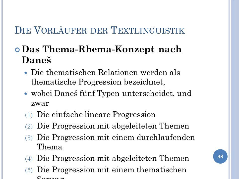 D IE V ORLÄUFER DER T EXTLINGUISTIK Das Thema-Rhema-Konzept nach Daneš Die thematischen Relationen werden als thematische Progression bezeichnet, wobe