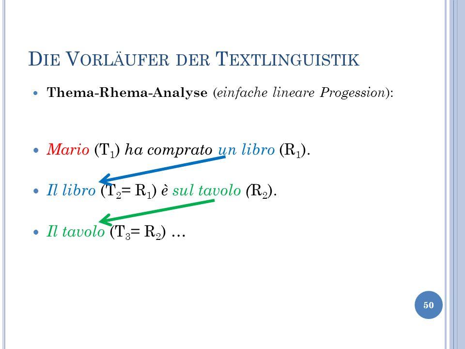 D IE V ORLÄUFER DER T EXTLINGUISTIK Thema-Rhema-Analyse ( einfache lineare Progession ): Mario (T 1 ) ha comprato un libro (R 1 ). Il libro (T 2 = R 1