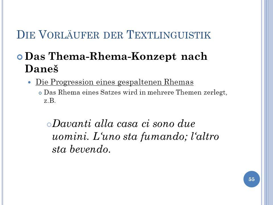 D IE V ORLÄUFER DER T EXTLINGUISTIK Das Thema-Rhema-Konzept nach Daneš Die Progression eines gespaltenen Rhemas Das Rhema eines Satzes wird in mehrere