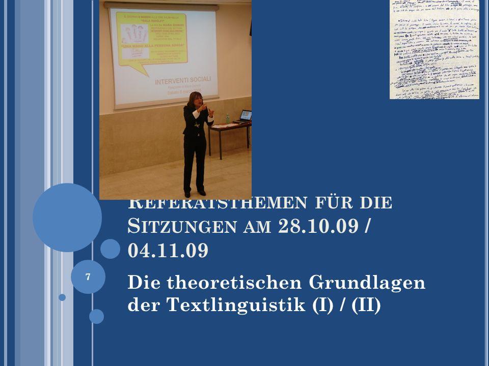 D IE V ORLÄUFER DER T EXTLINGUISTIK Das Thema-Rhema-Konzept nach Daneš Die thematischen Relationen werden als thematische Progression bezeichnet, wobei Daneš fünf Typen unterscheidet, und zwar (1) Die einfache lineare Progression (2) Die Progression mit abgeleiteten Themen (3) Die Progression mit einem durchlaufenden Thema (4) Die Progression mit abgeleiteten Themen (5) Die Progression mit einem thematischen Sprung 48