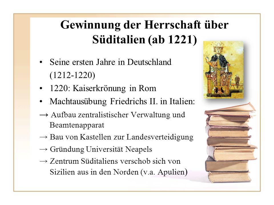 Ausbau der sizilianischen Monarchie und Gesetzgebung (ab 1230) Erstes umfassendes Gesetzeswerk des Mittelalter Konstitutionen von Melfi 10 Jahre später Nachträge der Konstitutionen durch Ausbau des Gesundheitssystems 1235/1236 zweiter Aufenthalt in Deutschland