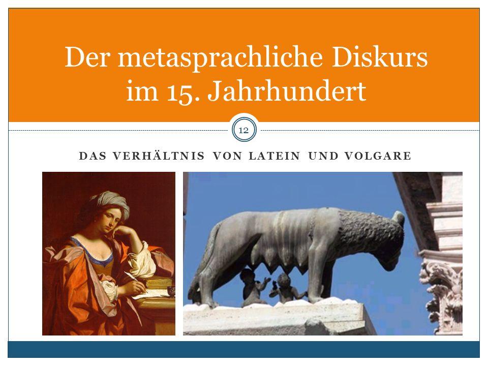 DAS VERHÄLTNIS VON LATEIN UND VOLGARE Der metasprachliche Diskurs im 15. Jahrhundert 12