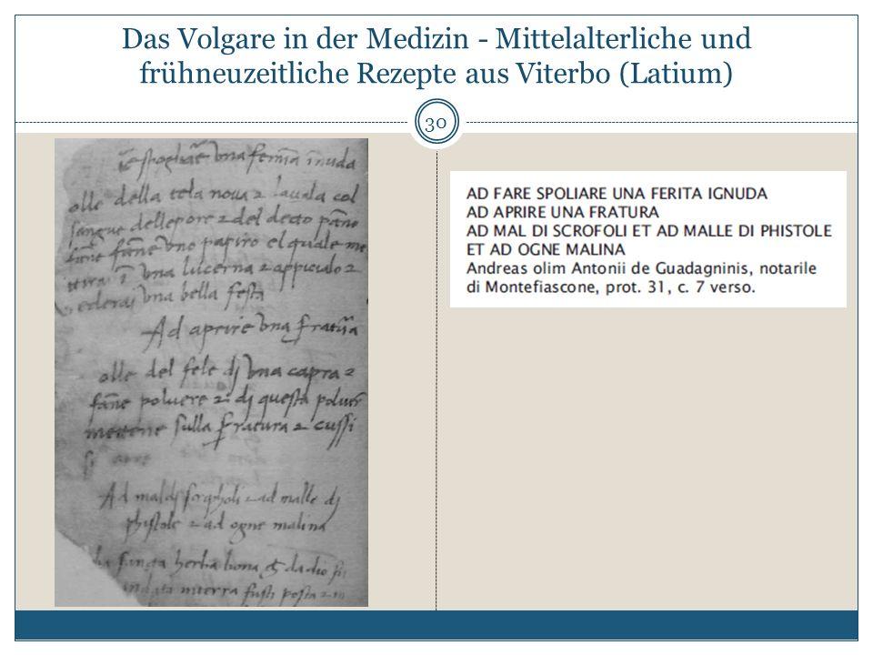 Das Volgare in der Medizin - Mittelalterliche und frühneuzeitliche Rezepte aus Viterbo (Latium) 30