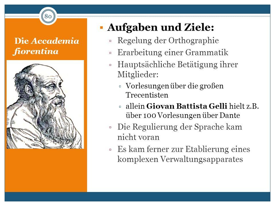 Die Accademia fiorentina Aufgaben und Ziele: Regelung der Orthographie Erarbeitung einer Grammatik Hauptsächliche Betätigung ihrer Mitglieder: Vorlesu