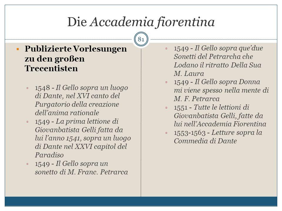 Die Accademia fiorentina 81 Publizierte Vorlesungen zu den großen Trecentisten 1548 - Il Gello sopra un luogo di Dante, nel XVI canto del Purgatorio d