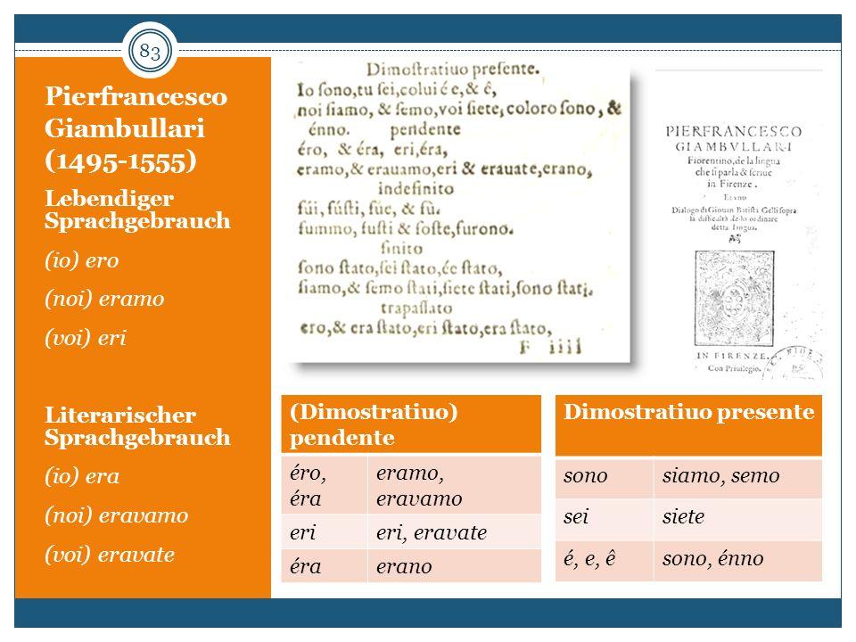 Pierfrancesco Giambullari (1495-1555) Lebendiger Sprachgebrauch (io) ero (noi) eramo (voi) eri Literarischer Sprachgebrauch (io) era (noi) eravamo (vo