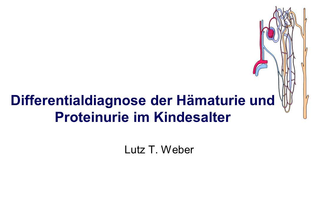 Ursachen der Hämaturie: Erkrankungen der ableitenden Harnwege l Pyelonephritis (4-26%) l Urolithiasis (2-7%), Hydronephrose, Ureterozele und andere Harnwegsmißbildungen l Trauma (0-7%) l Periureteritis bei Appendizitis l Cystitis haemorrhagica, Blasentumor (0-1%), Blasenstein l Urethritis, Fremdkörper in Urethra oder Harnblase l Gerinnungsstörungen: Hämophilie, Thrombozytopenie, Antikoagulantien