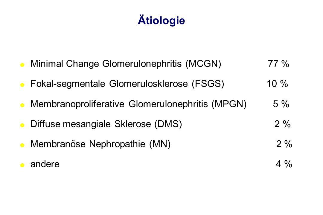 Ätiologie | Minimal Change Glomerulonephritis (MCGN) 77 % | Fokal-segmentale Glomerulosklerose (FSGS) 10 % | Membranoproliferative Glomerulonephritis