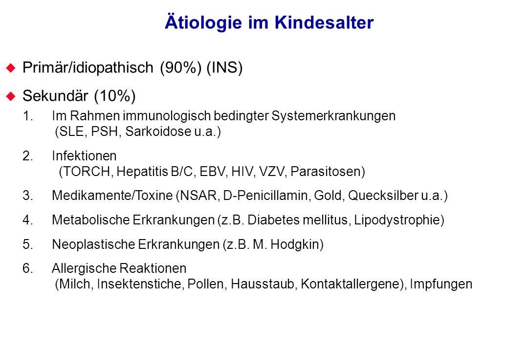 Ätiologie im Kindesalter Primär/idiopathisch (90%) (INS) Sekundär (10%) 1. Im Rahmen immunologisch bedingter Systemerkrankungen (SLE, PSH, Sarkoidose