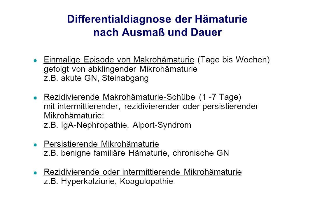 Differentialdiagnose der Hämaturie nach Ausmaß und Dauer l Einmalige Episode von Makrohämaturie (Tage bis Wochen) gefolgt von abklingender Mikrohämatu