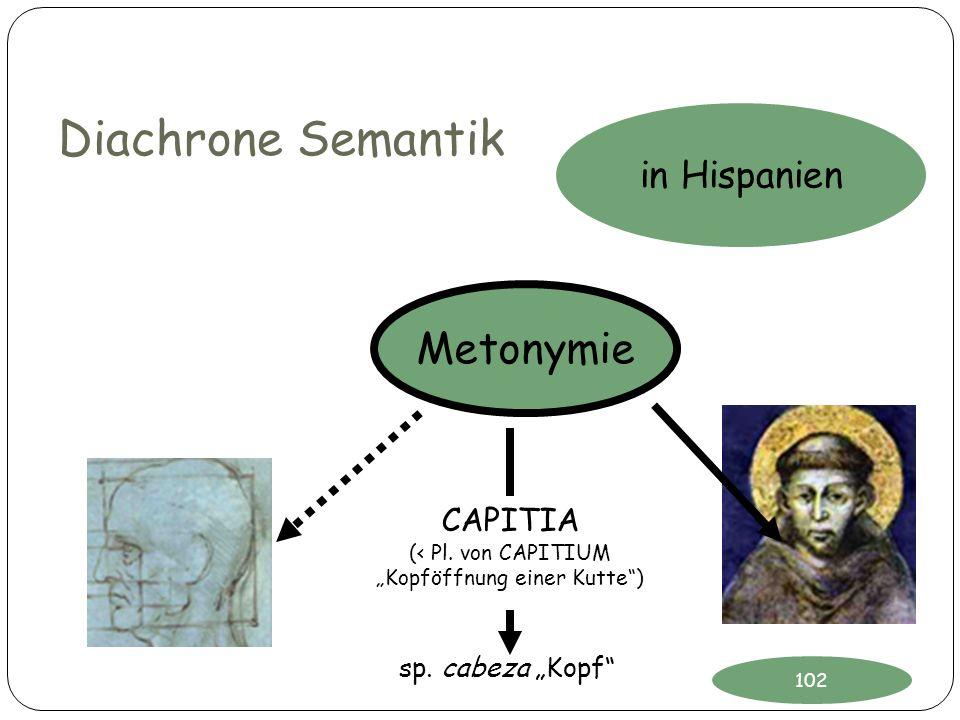 Diachrone Semantik CAPITIA (< Pl. von CAPITIUM Kopföffnung einer Kutte) in Hispanien Metonymie sp. cabeza Kopf 102