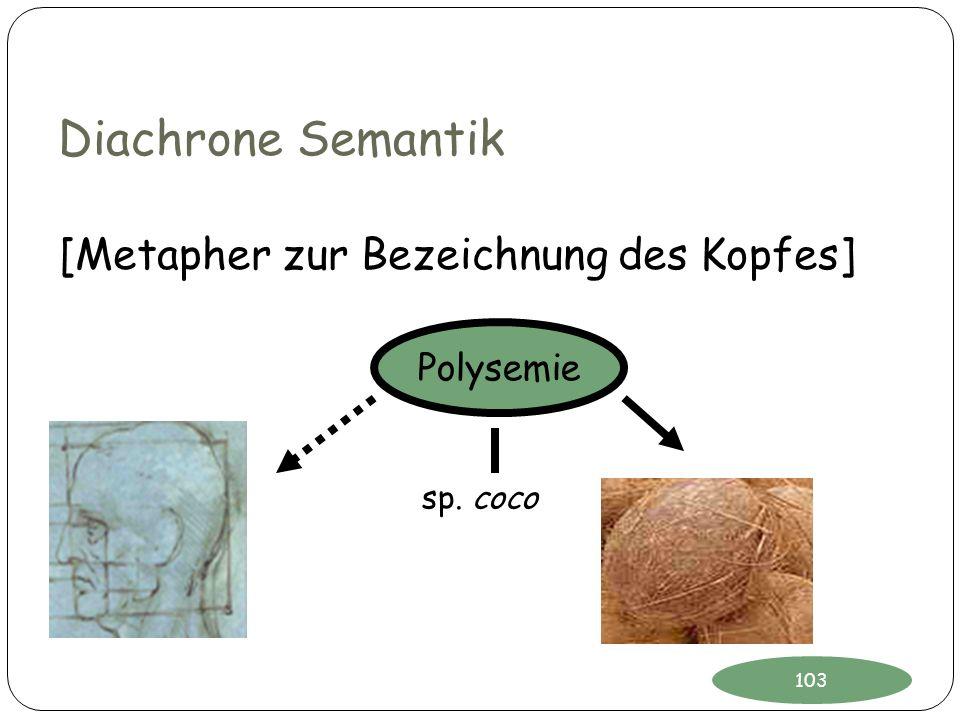 Diachrone Semantik sp. coco Polysemie [Metapher zur Bezeichnung des Kopfes] 103