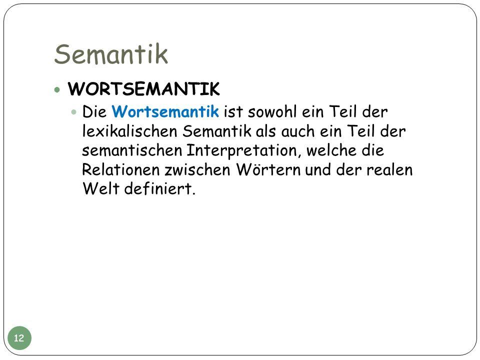 Semantik WORTSEMANTIK Die Wortsemantik ist sowohl ein Teil der lexikalischen Semantik als auch ein Teil der semantischen Interpretation, welche die Re
