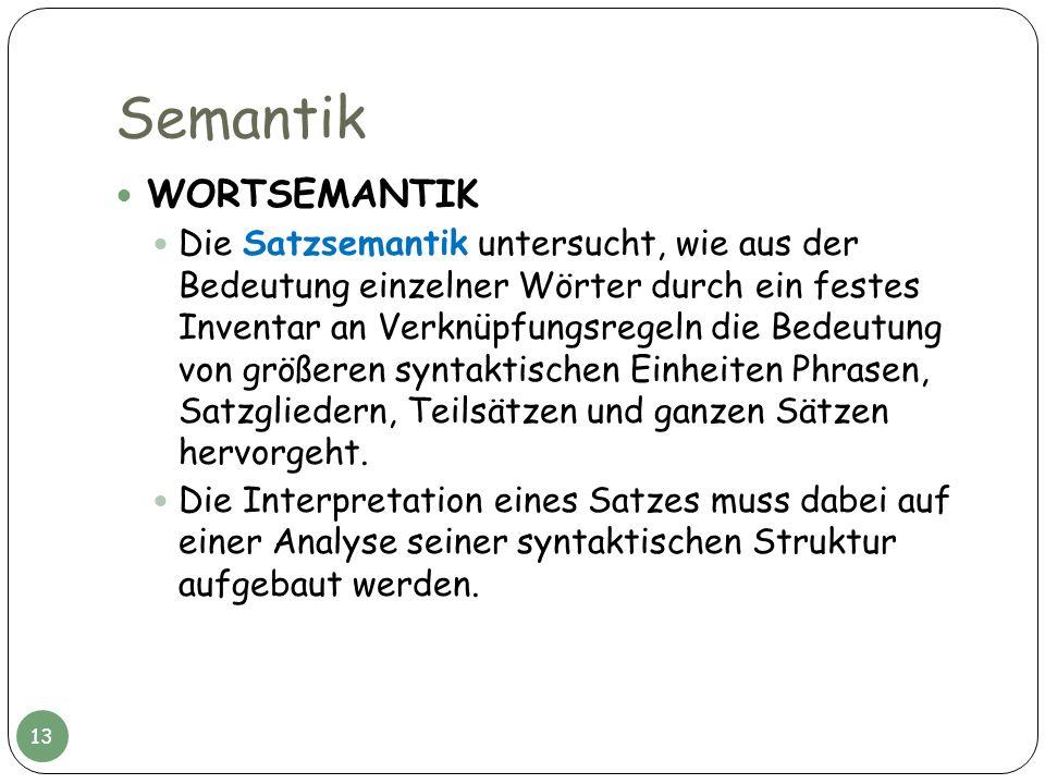 Semantik WORTSEMANTIK Die Satzsemantik untersucht, wie aus der Bedeutung einzelner Wörter durch ein festes Inventar an Verknüpfungsregeln die Bedeutun