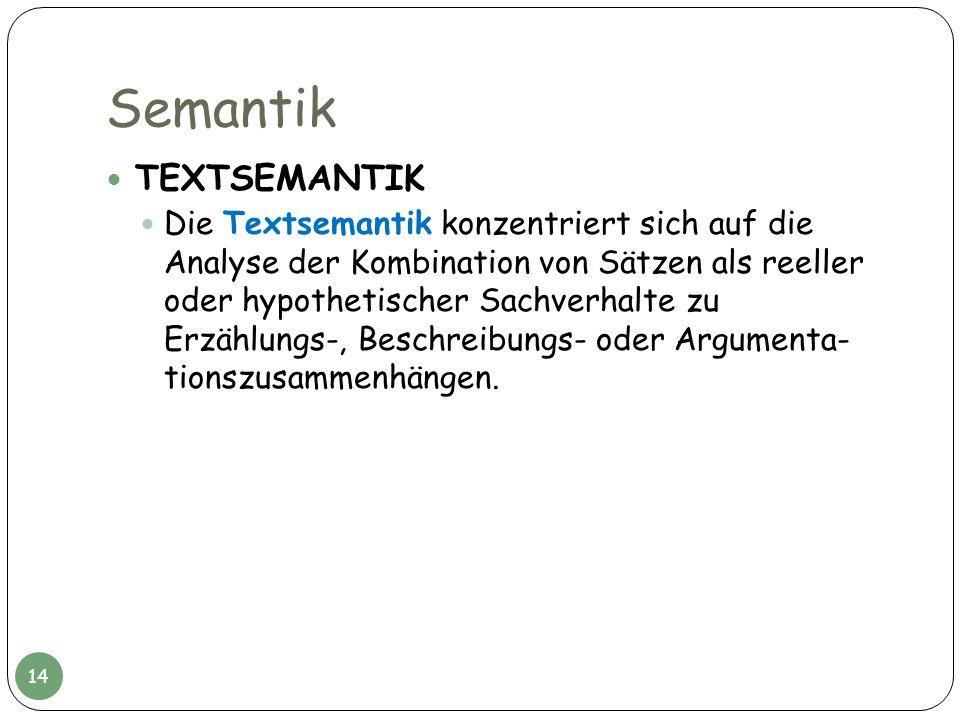 Semantik TEXTSEMANTIK Die Textsemantik konzentriert sich auf die Analyse der Kombination von Sätzen als reeller oder hypothetischer Sachverhalte zu Er
