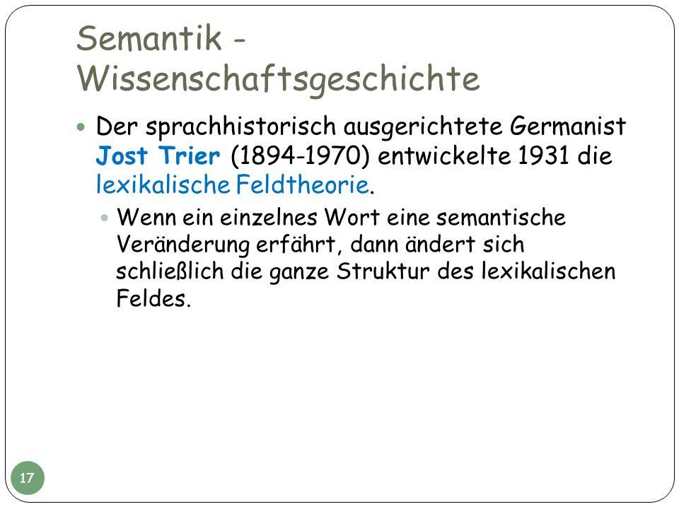 Semantik - Wissenschaftsgeschichte Der sprachhistorisch ausgerichtete Germanist Jost Trier (1894-1970) entwickelte 1931 die lexikalische Feldtheorie.