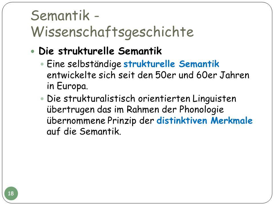 Semantik - Wissenschaftsgeschichte Die strukturelle Semantik Eine selbständige strukturelle Semantik entwickelte sich seit den 50er und 60er Jahren in