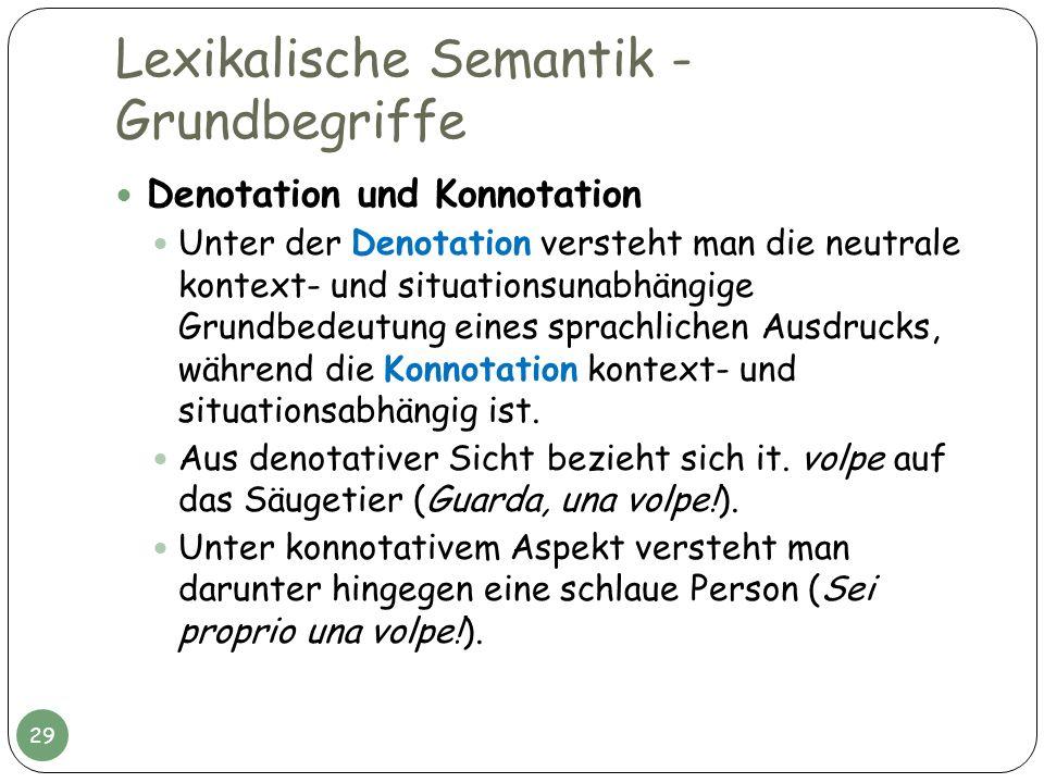 Lexikalische Semantik - Grundbegriffe Denotation und Konnotation Unter der Denotation versteht man die neutrale kontext- und situationsunabhängige Gru