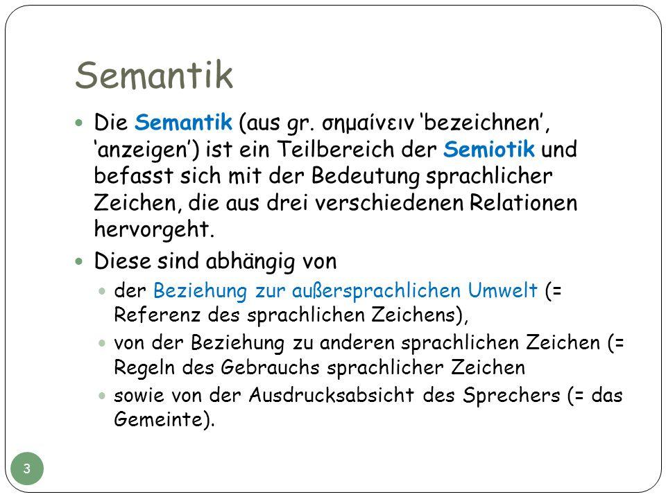 Die Semantik (aus gr. σημαίνειν bezeichnen, anzeigen) ist ein Teilbereich der Semiotik und befasst sich mit der Bedeutung sprachlicher Zeichen, die au