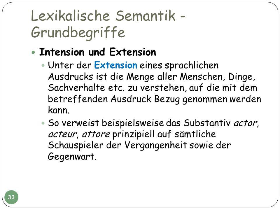 Lexikalische Semantik - Grundbegriffe Intension und Extension Unter der Extension eines sprachlichen Ausdrucks ist die Menge aller Menschen, Dinge, Sa