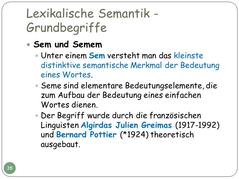 Lexikalische Semantik - Grundbegriffe Sem und Semem Unter einem Sem versteht man das kleinste distinktive semantische Merkmal der Bedeutung eines Wort
