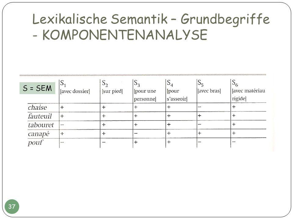 Lexikalische Semantik – Grundbegriffe - KOMPONENTENANALYSE 37 S = SEM
