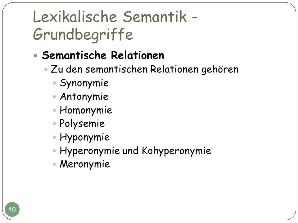 Lexikalische Semantik - Grundbegriffe Semantische Relationen Zu den semantischen Relationen gehören Synonymie Antonymie Homonymie Polysemie Hyponymie
