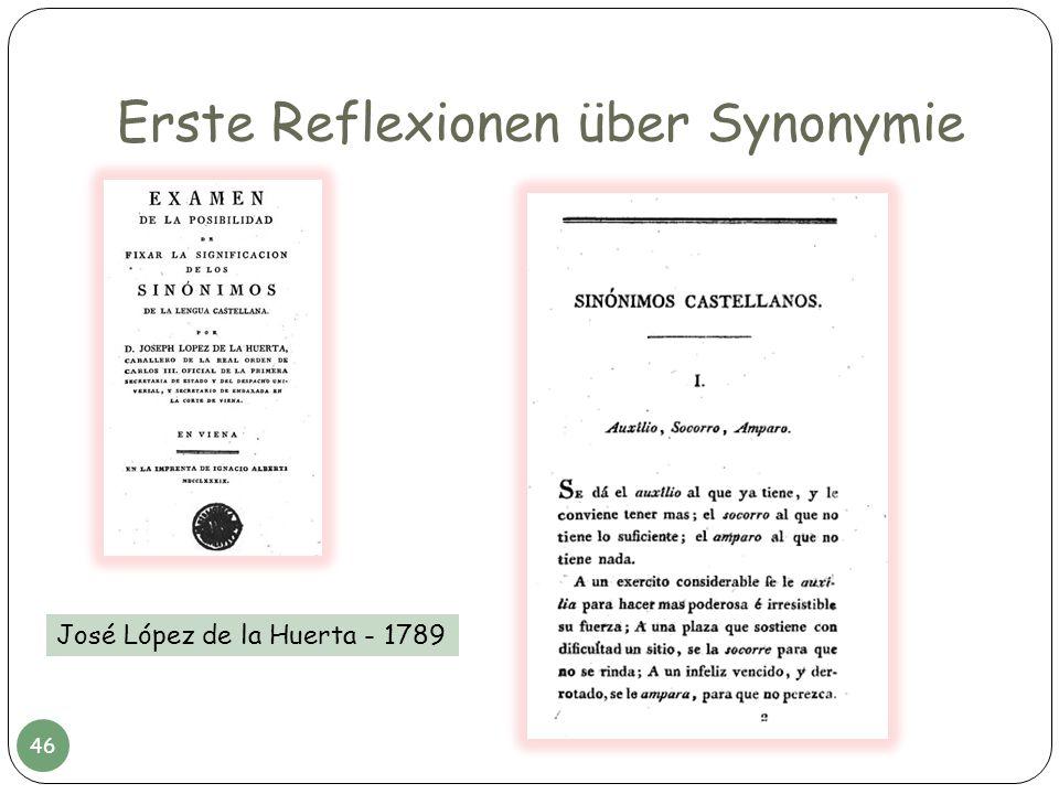 Erste Reflexionen über Synonymie José López de la Huerta - 1789 46