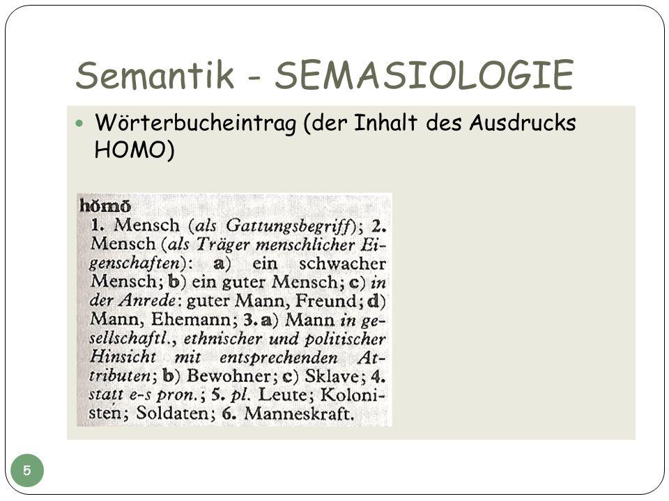 Semantik - SEMASIOLOGIE Wörterbucheintrag (der Inhalt des Ausdrucks HOMO) 5