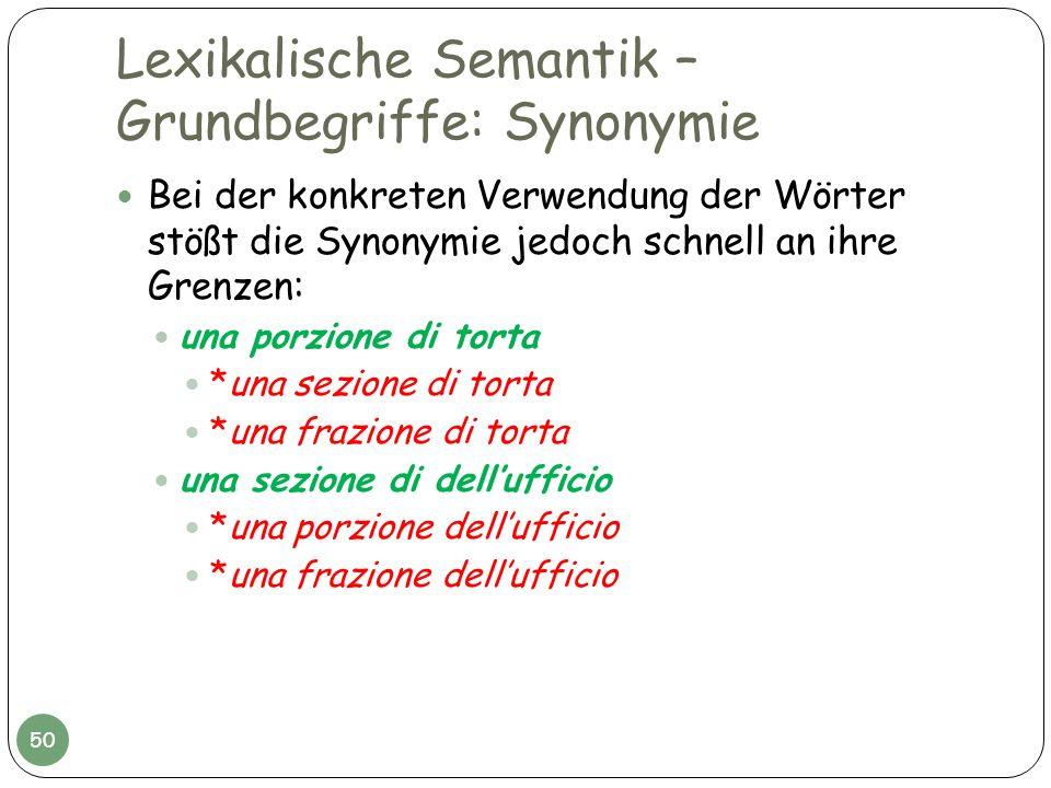 Lexikalische Semantik – Grundbegriffe: Synonymie Bei der konkreten Verwendung der Wörter stößt die Synonymie jedoch schnell an ihre Grenzen: una porzi