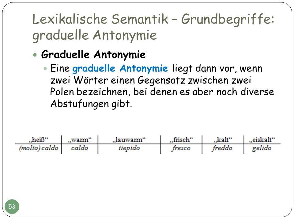 Lexikalische Semantik – Grundbegriffe: graduelle Antonymie Graduelle Antonymie Eine graduelle Antonymie liegt dann vor, wenn zwei Wörter einen Gegensa