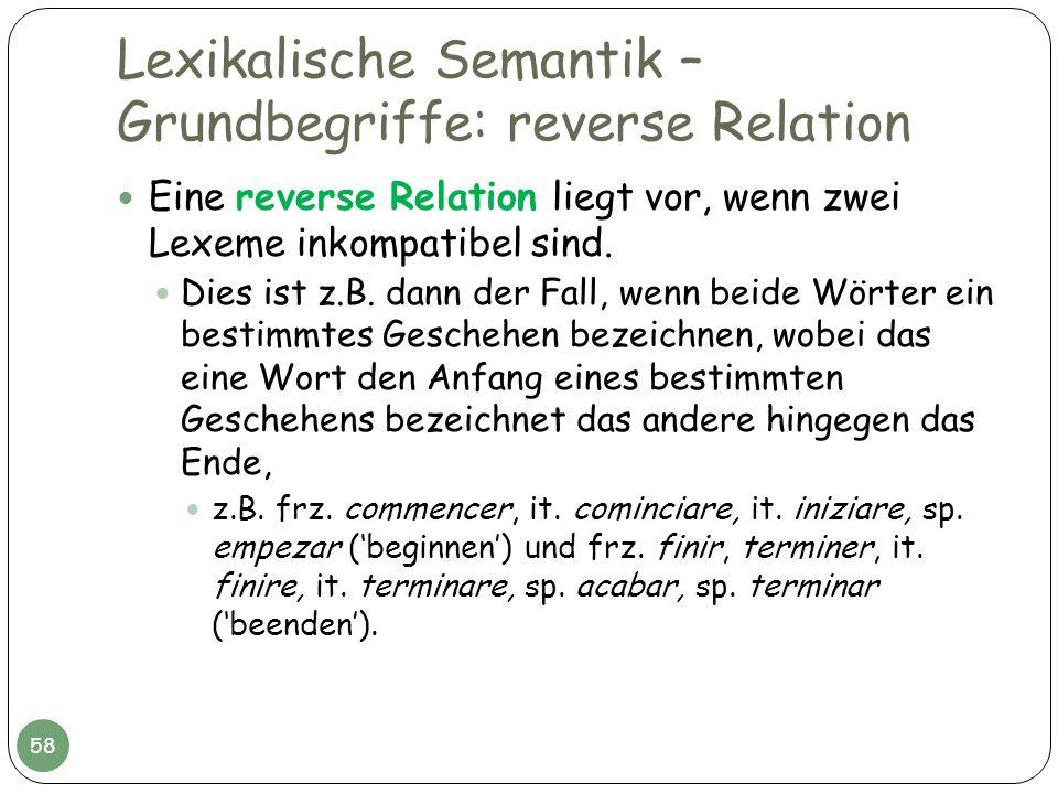 Lexikalische Semantik – Grundbegriffe: reverse Relation Eine reverse Relation liegt vor, wenn zwei Lexeme inkompatibel sind. Dies ist z.B. dann der Fa