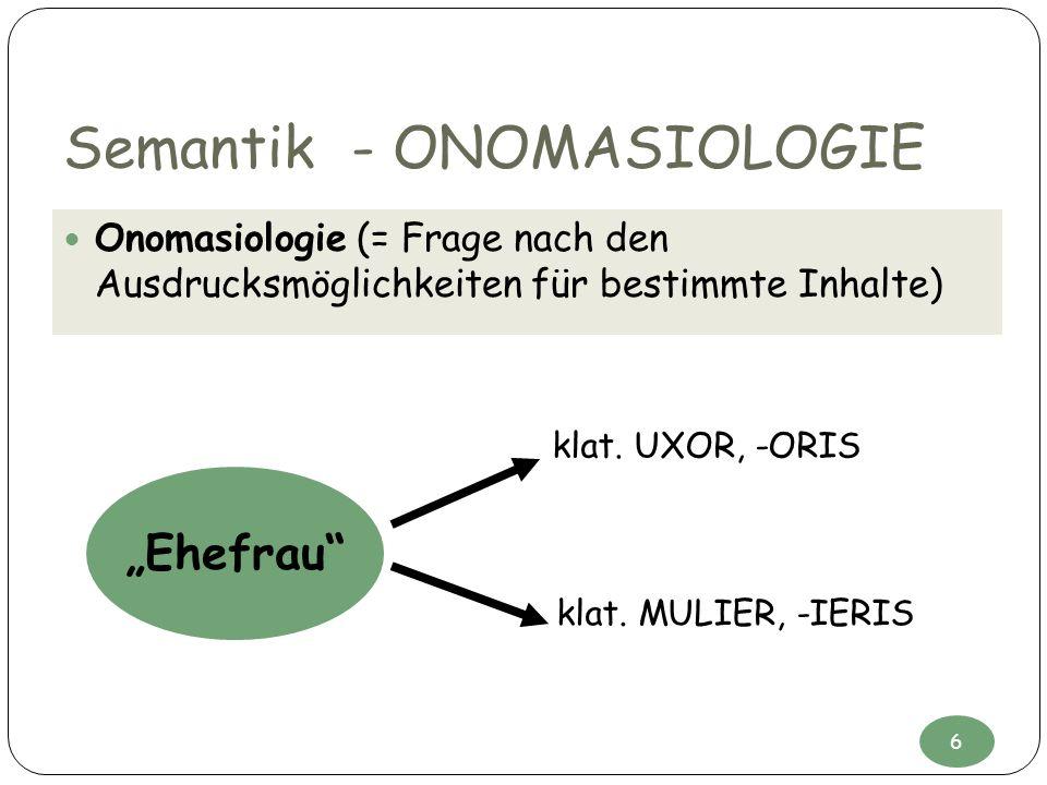 Semantik - ONOMASIOLOGIE Onomasiologie (= Frage nach den Ausdrucksmöglichkeiten für bestimmte Inhalte) Ehefrau klat. UXOR, -ORIS klat. MULIER, -IERIS