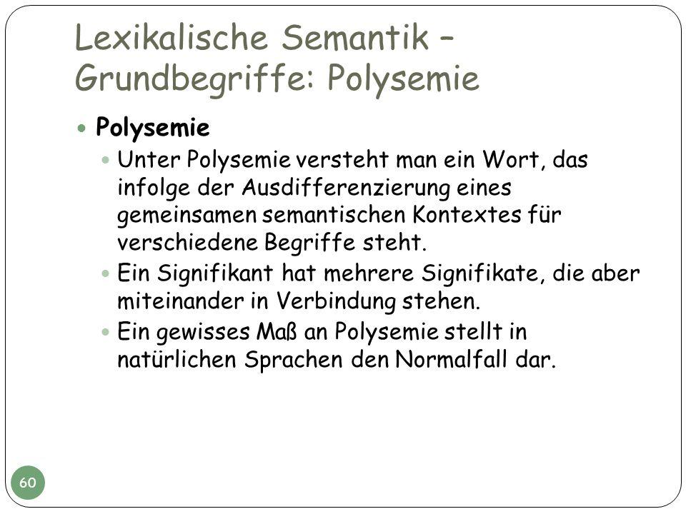 Lexikalische Semantik – Grundbegriffe: Polysemie Polysemie Unter Polysemie versteht man ein Wort, das infolge der Ausdifferenzierung eines gemeinsamen