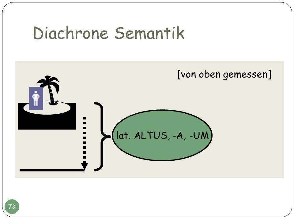 Diachrone Semantik lat. ALTUS, -A, -UM [von oben gemessen] 73