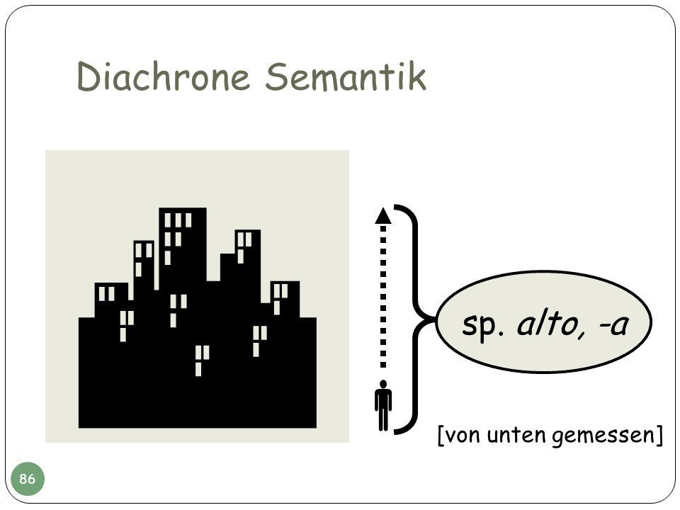 Diachrone Semantik sp. alto, -a [von unten gemessen] 86