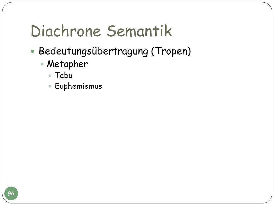 Diachrone Semantik Bedeutungsübertragung (Tropen) Metapher Tabu Euphemismus 96
