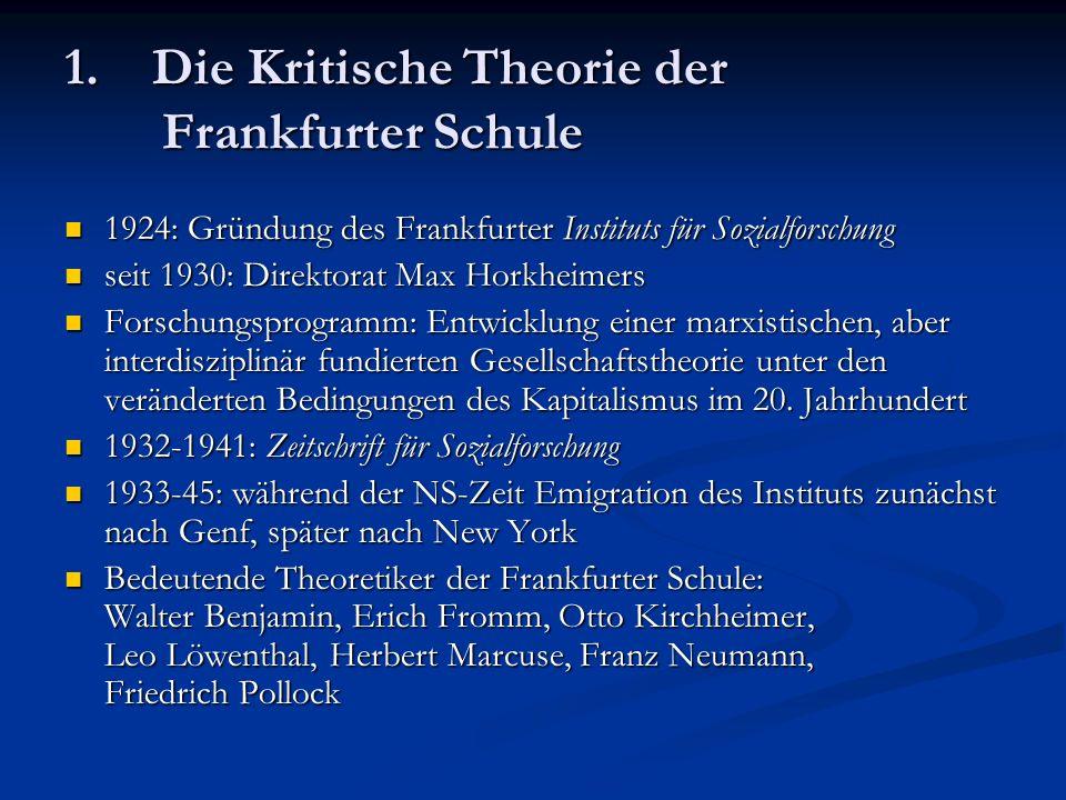 1. Die Kritische Theorie der Frankfurter Schule 1924: Gründung des Frankfurter Instituts für Sozialforschung 1924: Gründung des Frankfurter Instituts