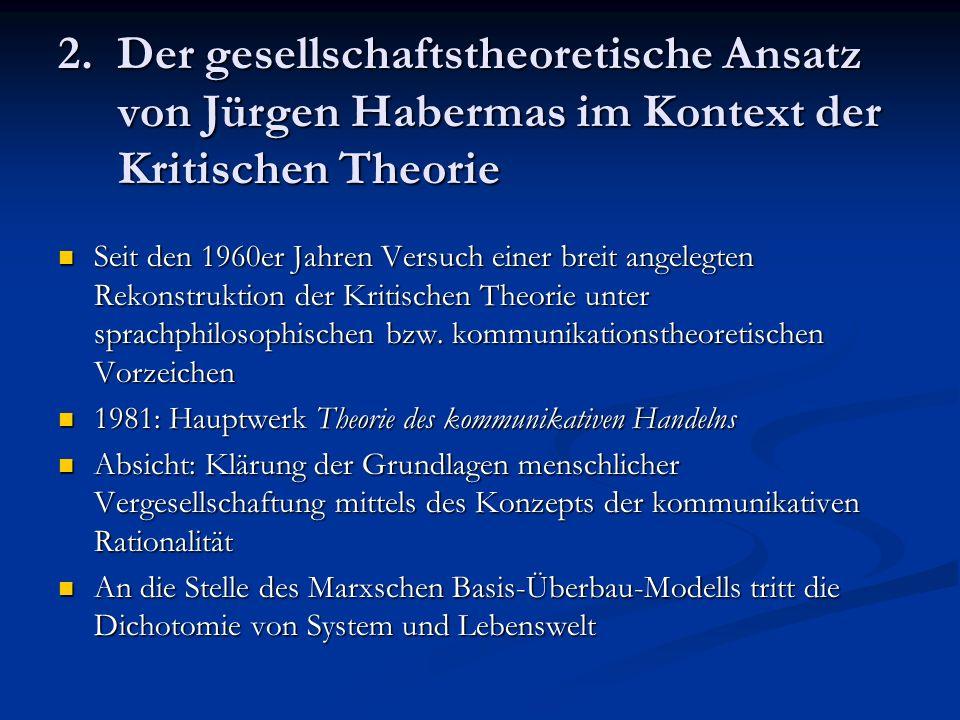 2. Der gesellschaftstheoretische Ansatz von Jürgen Habermas im Kontext der Kritischen Theorie Seit den 1960er Jahren Versuch einer breit angelegten Re