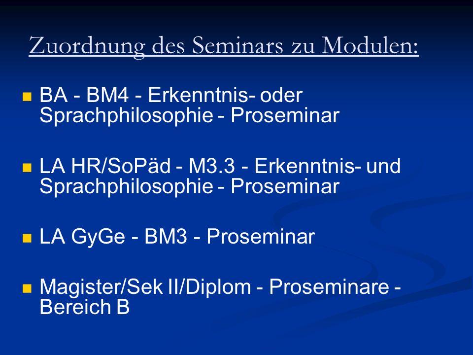 Zuordnung des Seminars zu Modulen: BA - BM4 - Erkenntnis- oder Sprachphilosophie - Proseminar LA HR/SoPäd - M3.3 - Erkenntnis- und Sprachphilosophie -