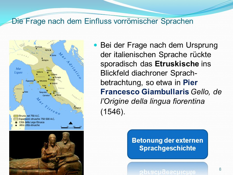 Die Substrate und der Wandel des (gesprochenen) Lateinischen Von besonderem Interesse ist folgende Tatsache: Die diatopische Variation des Lateinischen hat die Entwicklung der aus dieser hervorgegangenen romanischen Sprachen nachhaltig beeinflusst.