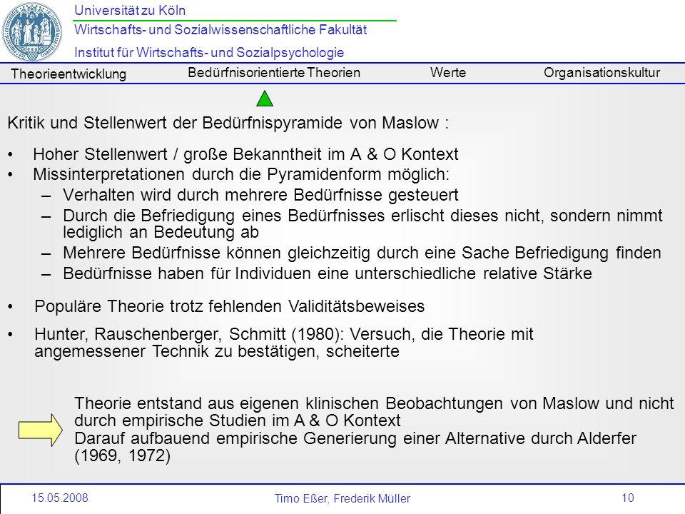 10 Universität zu Köln Wirtschafts- und Sozialwissenschaftliche Fakultät Institut für Wirtschafts- und Sozialpsychologie Timo Eßer, Frederik Müller Th
