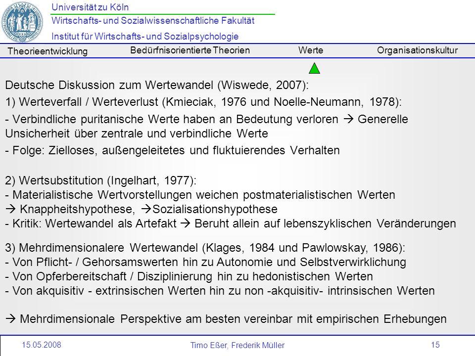 15 Universität zu Köln Wirtschafts- und Sozialwissenschaftliche Fakultät Institut für Wirtschafts- und Sozialpsychologie Timo Eßer, Frederik Müller Th