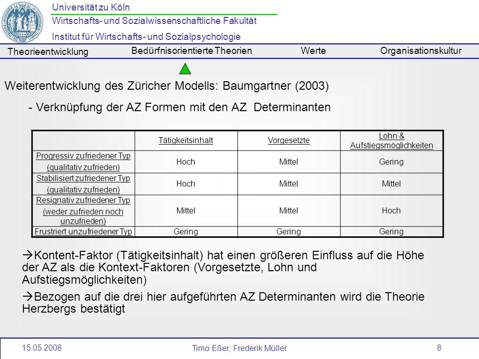 8 Universität zu Köln Wirtschafts- und Sozialwissenschaftliche Fakultät Institut für Wirtschafts- und Sozialpsychologie Timo Eßer, Frederik Müller The