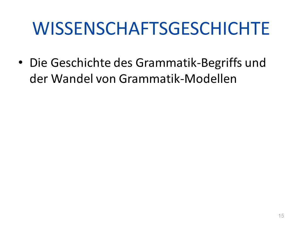 WISSENSCHAFTSGESCHICHTE Die Geschichte des Grammatik-Begriffs und der Wandel von Grammatik-Modellen 15