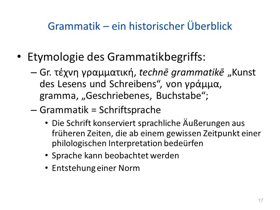 Grammatik – ein historischer Überblick Etymologie des Grammatikbegriffs: – Gr.