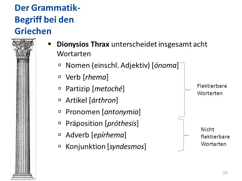 Der Grammatik- Begriff bei den Griechen Dionysios Thrax unterscheidet insgesamt acht Wortarten Nomen (einschl.