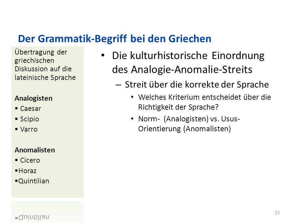 Der Grammatik-Begriff bei den Griechen Die kulturhistorische Einordnung des Analogie-Anomalie-Streits – Streit über die korrekte der Sprache Welches Kriterium entscheidet über die Richtigkeit der Sprache.